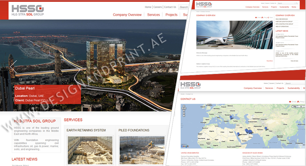 website layout for construction company habtoor