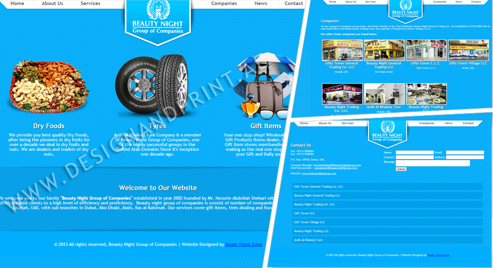 website layout for group of companies dubai