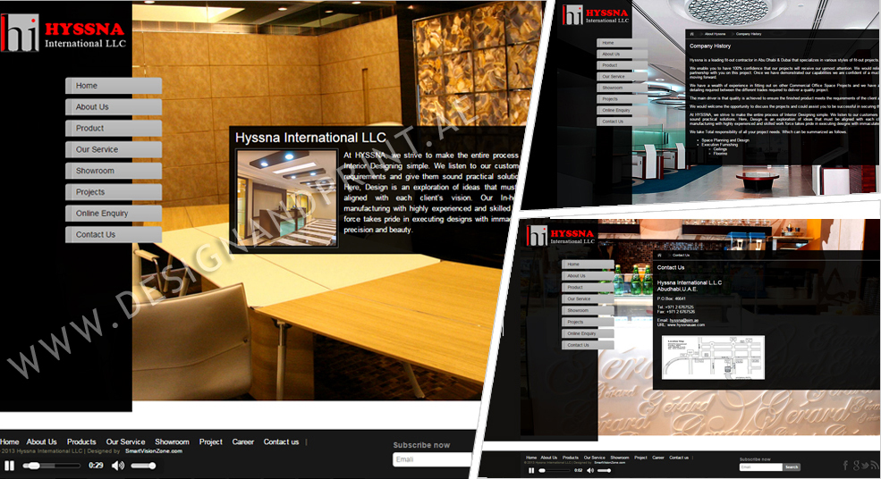 website layout for interior designing company