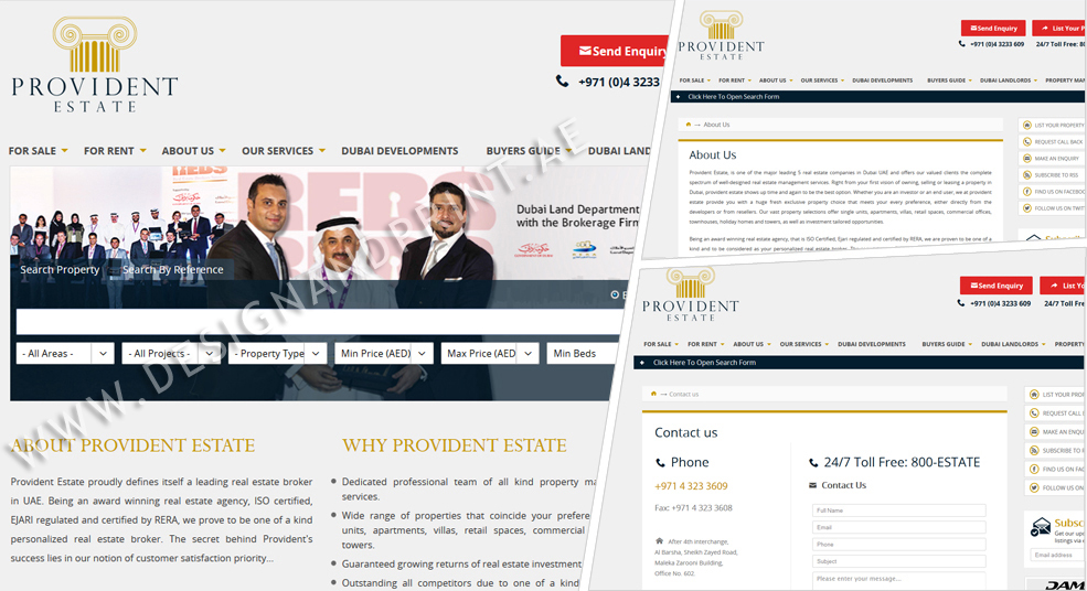 website layout for real estate broker