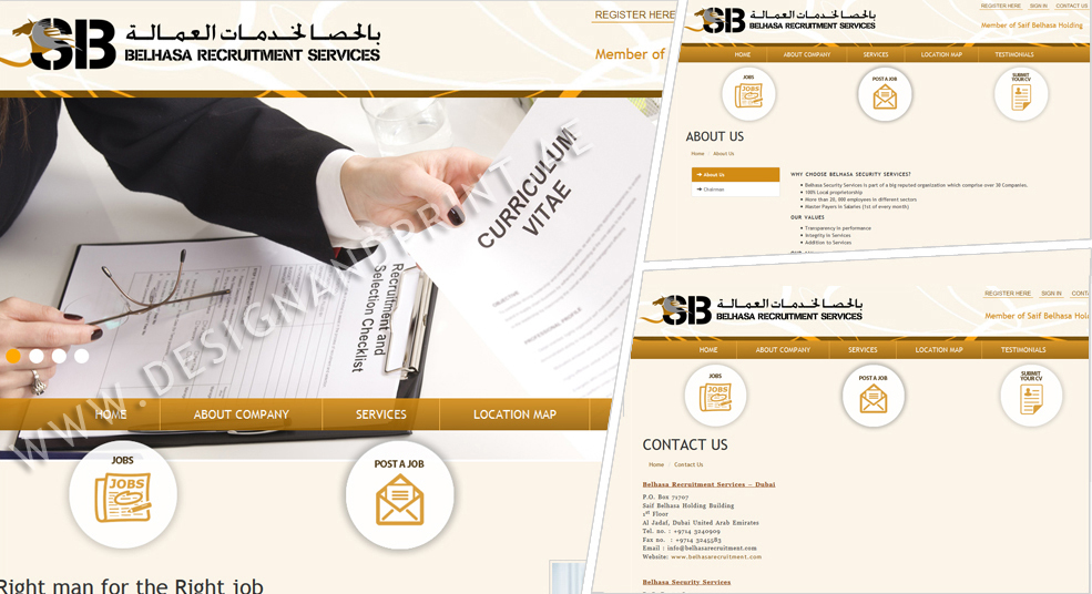 website layout for recruitment company belhasa
