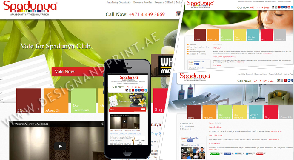 website layout for spa in dubai