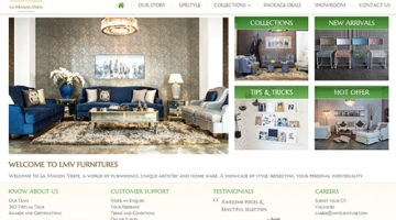 Website layout for interiors and furnitures