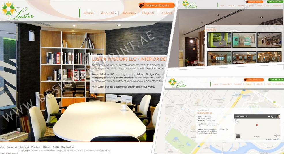 website layout for interior design home